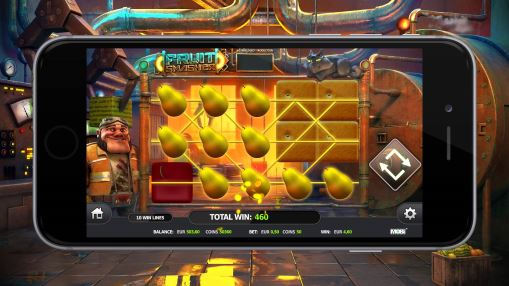 Mobile version of real money pokie Fruit Smasher by Stakelogic