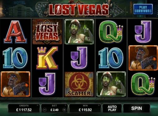 Reels with symbols of Lost Vegas pokie for real money