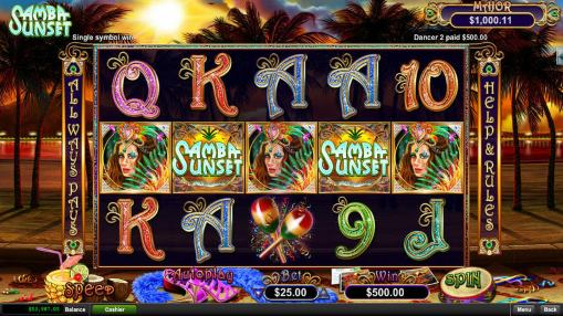 Real money online slot Samba Sunset by Realtime Gaming